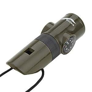 N57en 1Multifonction Sifflet avec boussole, thermique mètres et lumière LED