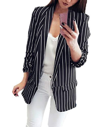 Primavera e Autunno Donne Blazers Casual Manica Lunga Tailleur Cappotto Giacche Outerwear Moda Coat Righe Tops Jacket da Ufficio Business