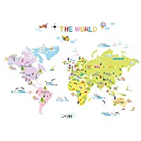 Decowall DW-1203 Multicoloured World Map Kids Wall Stickers Wall Decals Peel and Stick Removable Wall Stickers for Kids Nursery Bedroom Living Room (Multi)