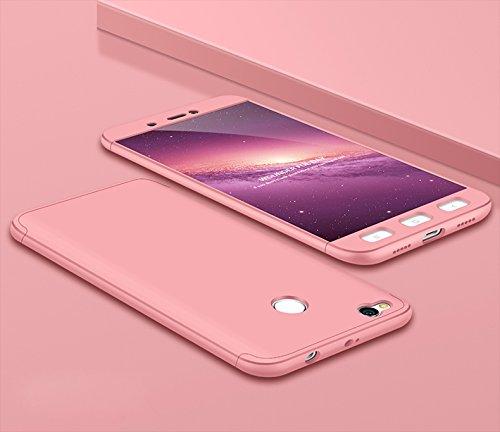 Ququcheng Xiaomi Redmi 4X Hülle,Xiaomi Redmi 4X Schutzhülle[Mit Displayschutz] 3 in 1 Ultra dünn Hard Shell Case 360 Grad Schutz Tasche Etui Handyhülle Cover für Xiaomi Redmi 4X-Rose Gold