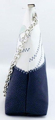 Winni:Pochette donna in vela riciclata e pelle con manico in catena alluminio anodizzato blu