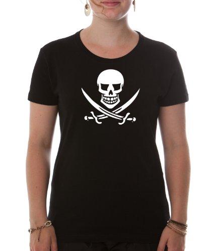 (Dellawear Damen T-Shirt Skull Pirat-Premium - schwarz L)