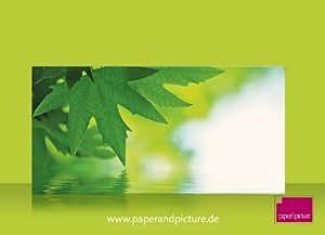 Paperandpicture.de Paquet de 10enveloppes imprimées recto-verso Motif feuille et eau FormatC5/C6
