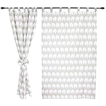155x100 cm ca Animals with Cap//Gray TupTam Childrens Room Tab Top Curtains Set with Tiebacks