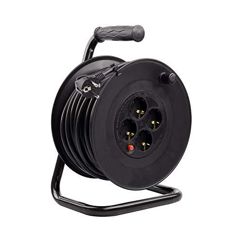 Carrete Alargador de Cable 50m Negro efectoLED