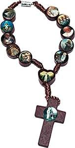 Chapelet / Dizainier avec croix en bois et icônes des Saints