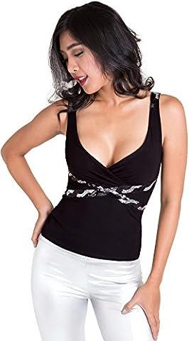 clubwearguru® Womens Sequin & Ruched Tank Top (L (Bust 37-39), Black)