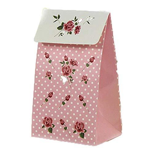 BESTLLE Rose Muster Papier Geschenkbox Geschenkverpackung Kleine Candybox 3,7 x 4,1 x 2,6 Zoll 6pcs / Set