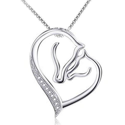 """PFERDESCHNICKSCHNACK - Halskette \""""Ein Herz für Pferde\"""" - Edle Halskette mit Anhänger PFERD aus 925 Sterling Silber mit Zirkonia - in hübscher Geschenkbox (Ein Herz für Pferde)"""
