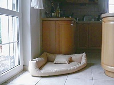 Gabi Perros cama piel sintética esquina cama sofá de esquina cama para perros Perros Talla XXL 140x 140cm, color crudo