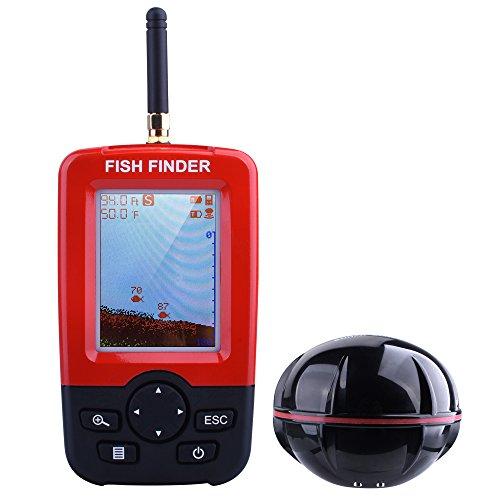 Kupet Fischfinder Sonar Unterwasser wasserdicht Elektronischer drahtloser beweglicher Fisch-Sucher-Tiefe fischsucher mit farbiger LCD-Anzeige