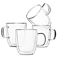 Set of 4 (12 oz, 350 ml), Coffee Mugs, Glass Tea Mugs, Double Wall Glass Coffee Cups, Tea Cups, Latte Cups, Glass Coffee Mug, Beer Glasses, Latte Mug, Clear Mugs, Glass Cappuccino Cups