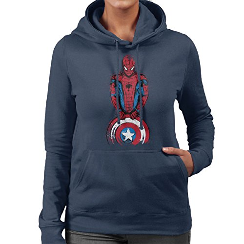 Spider Man The Spider Is Coming Women's Hooded Sweatshirt Navy blue