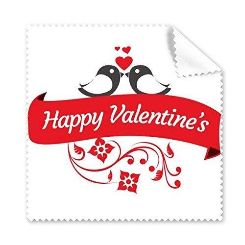 CFHJN Home Rotes und schwarzes glückliches Bild des Valentines Tagesmit Herz-Liebes-Vogel-Blumen und Fahnen-Illustrations-Muster-Glasstoff-Putzstoff-Telefon-Bildschirm-Reiniger
