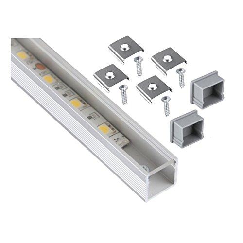 Aluminio anodizado y 2m Perfil cuadrado Set + cubierta transparente + 2x endkappe + 4x Montaje Pinza–para tira de luz LED