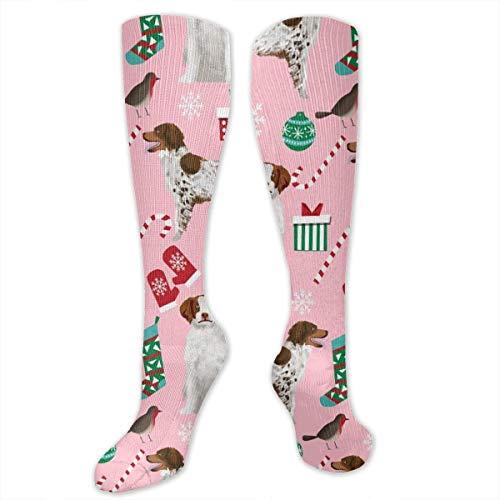 HVCMNVB Brittany Spaniel Christmas pink Crew Socks Cotton Casual Knitting Warm Winter Socks - Casual-christmas-socken