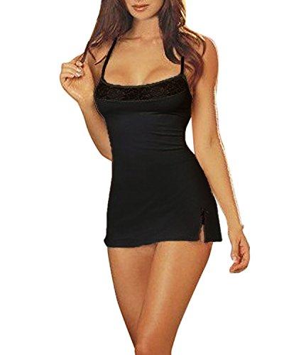 ZANZEA Women's Sexy Lingerie Set Babydoll Lace Splice Chemise Sleepwear Night Dress+G-string Black US 8