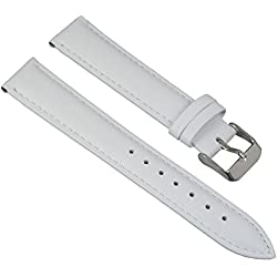 Watch Band White Leather Watch Strap With White Stitching, Width: 20 mm; Buckle: Silver