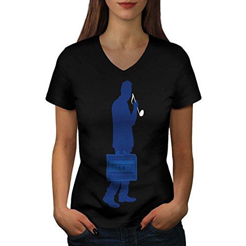 Kassette Mensch Hinweis Musik Damen S-2XL T-shirt | Wellcoda Black
