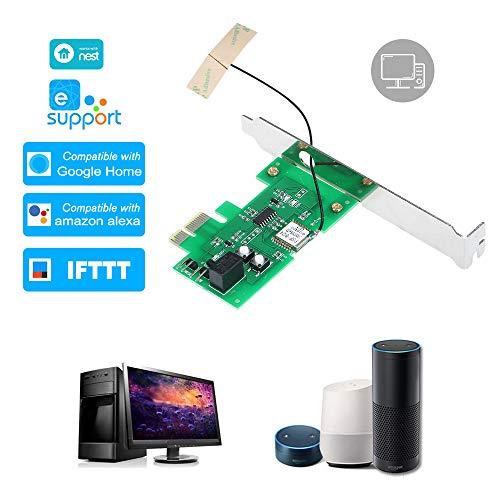 OWSOO PC-Fernbedienung Switch-Karte eWeLink Mini-PCI-e-Desktop WiFi-Smart-Switch-Relaismodul Wireless-Neustart-Schalter EIN- / Ausschalten der Computer-Boot-Karte für Smart Home (Smart-computer-desktop)