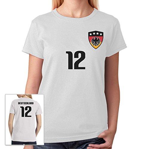 Deutschland Shirt Fussball Nummer 12 Fanartikel WM 2018 Frauen T-Shirt Weiß