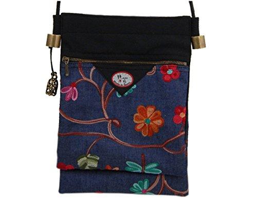 BANDOLERA PEQUEÑA textil de Plan B - SPRING (denim bordado) - Ligero bolso de diseño Floral. Con bolsillo doble y cierres de cremallera. Hecho a mano en España.