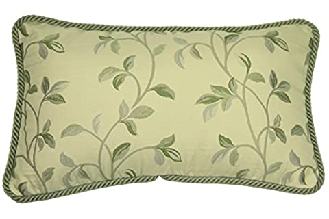 McAlister Textiles Annabel |Small Vintage Embroidered Tapestry Floral Natural Sage Green Pillow Cases w/ Braided Piping | 50 x 30cm 20 x 12
