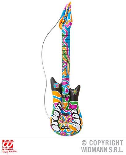 HIPPIE - GITARRE -, 105 cm, aufblasbar, 60er 70er Jahre Groovy Flower Power Hippebewegung Aussteiger Musikinstrumente Gitarren Saxophon Banjo (Banjo Spielzeug)