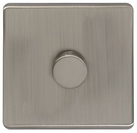 LED Dimmer Switch Brushed Chrome Screwless Finish 1 Gang Single Pole 400w N352DME