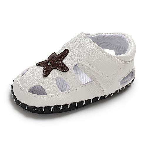 Geagodelia Baby Sandalen Weicher Lauflernschuhe Hausschuhe für Kleinkind Junge Mädchen mit Modern Sterne Muster (3-6 Monate, Weiß)