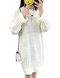 CHENGYANG Femme Manchon Lanterne Pull Robe Décontracté Manches Longues  Pullover Long Chandail f471613bf9ee