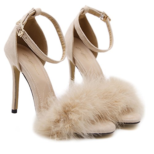 GS~LY Regali Festa della mamma Punta esposta tacchi alti sandali semplice apricot