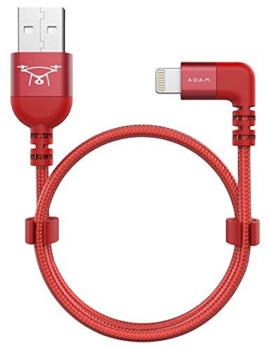 ADAM elements PeAk II Lightning auf USB Kabel für DJI Remote Controller Mavic / Spark / Phantom-Serie - rot [iPhone & Pad I MFI zertifiziert I 30cm lang I Nylon & Aluminium I Einseitig 90°] Advanced Ipod Controller