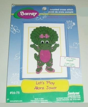 BABY BOP Cross Stitch Kit & Frame Lets Play Barney 5x7 by Janlynn