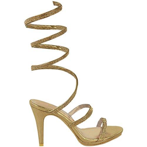 Escarpins sandales - talons hauts - femme - avec strass - tailles 36 à 41 Doré métallisé/diamant/brillant