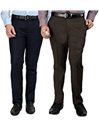 Inspire Pack of 2 Formal Trousers for Men (Blue & Brown)
