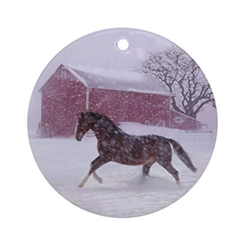 VINMEA Xmas Decorative Hanging Ornament for Christmas Tree, Porcelain - Let It Snow! Christmas Horse Barn Ornament Round Holiday Christmas Ornament -