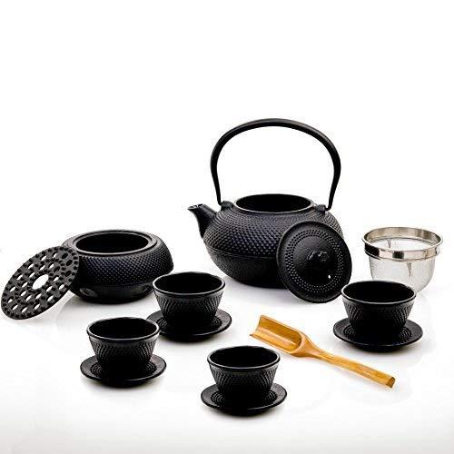 Lumaland servizio da té 12 pezzi: teiera in ghisa da 1,4 l + filtro in acciaio, 4 tazze con sottotazza e scaldino in nero + cucchiaio di bambù