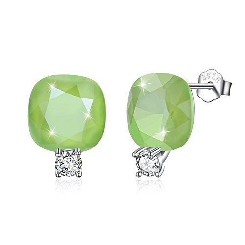 Daesar Orecchino in Argento 925 Orecchini Donna Eleganti Orecchini Cristallo Verde Orecchini Sposa