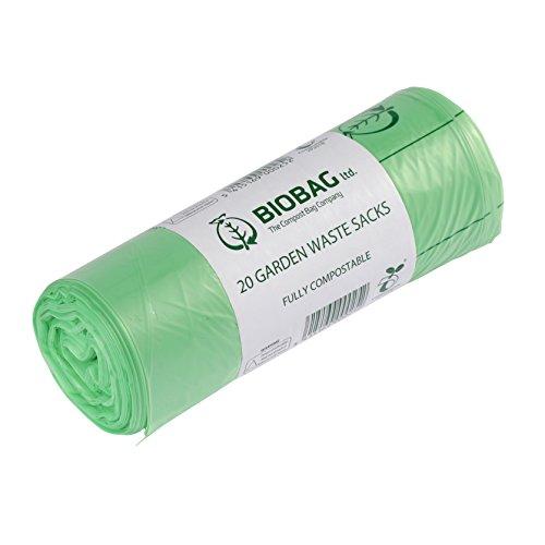 All-Green Sacco da Giardino BioBag 80 Litri compostabile con Guida al compostaggio, 20 Sacchi