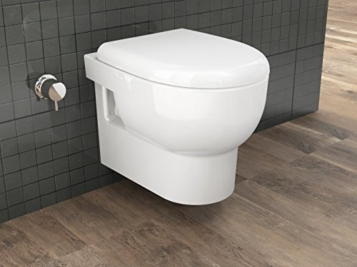 Wc-sitz-runde Bidet (Taharat Spülrandloses Hänge Dusch-WC aus Keramik, ohne spülrand WCSR002 inkl. Sitz mit Absenkautomatik Taharet)
