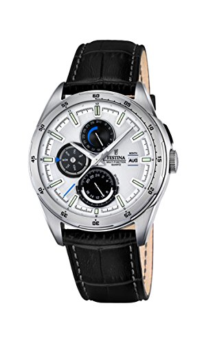Festina Men's Quartz Watch with White Dial Analogue Display and Black Leather Strap F16877/1