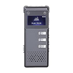 Voice Recorder, TechVibe 8GB 560Hours Digital Voice Recorder & MP3 Music Player, Dictaphone, Built-in Loudspeaker, Supports Micro SD Card [2016 Edition], Dark Grey