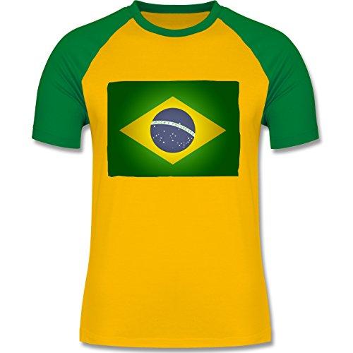 Shirtracer Länder - Flagge Brasilien - S - Gelb/Grün - L140 - Herren Baseball Shirt (Land-flaggen-t-shirt)
