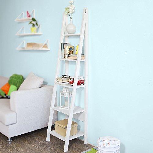 SoBuy® Scaffale a scala moderno con cinque ripiani. colore: bianco FRG101-W,IT