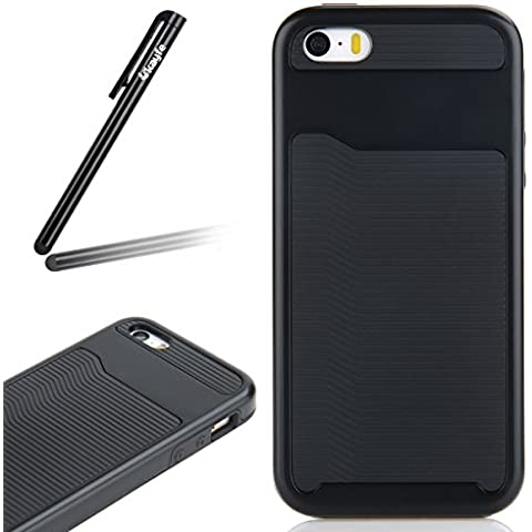 iPhone 5/5S/SE CUSTODIA IN TPU silicone e plastica , Ukayfe Stilosa Fresco 2 in 1 Shell Copertura custodia cassa case protettiva cover bumper per iPhone 5/5S/SE Design linea Combo - Stilosa custodia di design in morbido TPU Con Free Stilo Penna-Nero