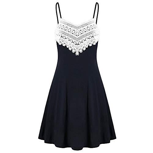 JiaMeng Mode Damen Häkelspitze Rückenfreies Mini Slip Kleid -
