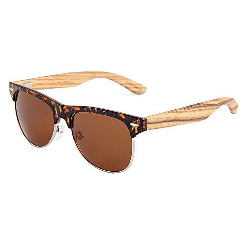 Yiph-Sunglass Sonnenbrillen Mode Halbrandlose Unisex-polarisierte Holzsonnenbrille Farbiger UV-Schutz für Männer, Frauen (Farbe : Braun)