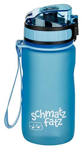 schmatzfatz auslaufsichere Sport Trinkflasche Kinder, BPA frei, 350ml, Fruchteinsatz, 1-klick Verschluss, Kinder Trinkflasche für Schule Kindergarten (Hell Blau) (Wasser Für Lunchboxes Flasche)