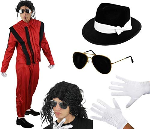 ILOVEFANCYDRESS Musik POP King 80iger KOSTÜM Variation VERKLEIDUNG MIT PERÜCKE UND Goldener Aviator Brille Musik Themen Halloween Fasching Karneval=SMALL (Michael Halloween-film Jackson)